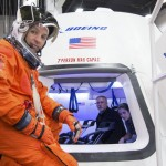 The astronaut Randy Bresnik preparing to enter the Boeing CST-100 spacecraft at a company facility in Houston.